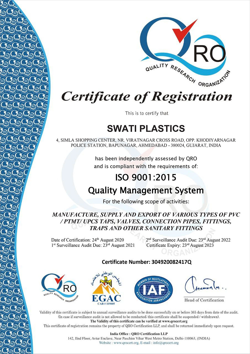 WELCOME TO SWATI PLASTIC AN ISO 9001:2015 CERTIFIED COMPANY